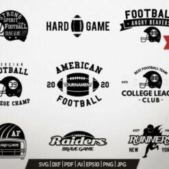 American Football Logos Bundle Retro, American Football Logos SVG, American Football Logos Digital File