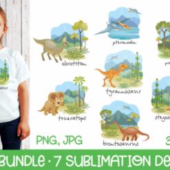 Dino Bundle - 7 Sublimation Designs, Dinosaur SVG, Dinosaur Digital File