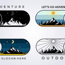 Mountain Adventure Icon Sticker Logo
