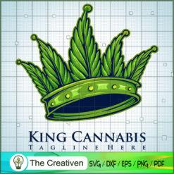 King Kush Cannabis Crown Weed Logo SVG SVG, Cannabis SVG, Weed SVG