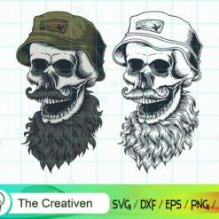 Skull Beard Mustache Wear Hat SVG, Skull Beard Mustache Wear Hat Digital File, Skull SVG