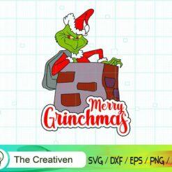 Grinch Inside Chimney SVG , Grinch SVG, Christmas Tree SVG, Merry Christmas SVG