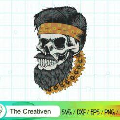 Skull Beard Mustache Flower SVG, Skull Beard Mustache Flower Digital File, Skull SVG