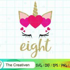 Eighth Birthday Unicorn SVG, Eighth Birthday Unicorn Digital File, Unicorn Heart SVG