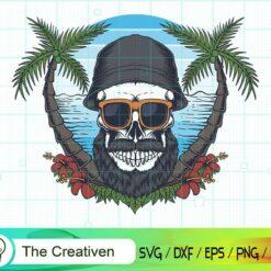 Skull Beard Mustache Beach SVG, Skull Beard Mustache Beach Digital File, Skull SVG