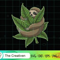Sloth Hug Weed Vector Illustration SVG , Cute Sloth Svg, Sleeping Sloth Svg , Cannabis SVG