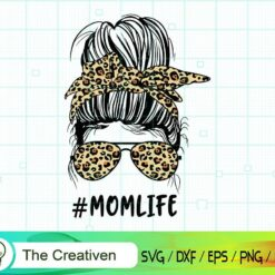 Leopard Messy Bun Momlife Svg, Mom Life , Messy Bun Skull SVG