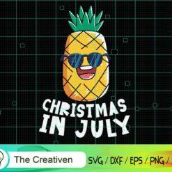 Christmas in July Pineapple Summer SVG, Christmas in July Pineapple Summer Digital File, Christmas Pineapple SVG