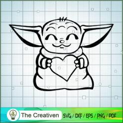 Baby Yoda Take a Heart SVG, Star Wars SVG, The Mandalorian SVG