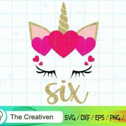 Sixth Birthday Unicorn SVG, Sixth Birthday Unicorn Digital File, Unicorn Heart SVG