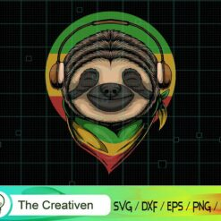 Sloth Rasta a Wearing Headphones SVG , Cute Sloth Svg, Sleeping Sloth Svg