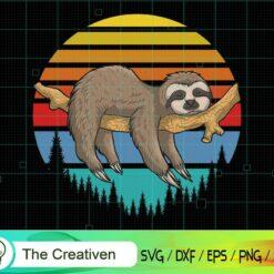 Lazzy Sloth Retro Sunset Illustration SVG , Cute Sloth Svg, Sleeping Sloth Svg