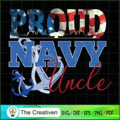Proud Navy Uncle Patriotic USA Flag SVG, Proud Navy SVG, USA Flag SVG