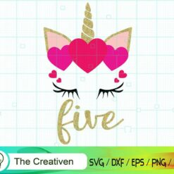 Fifth Birthday Unicorn SVG, Fifth Birthday Unicorn Digital File, Unicorn Heart SVG