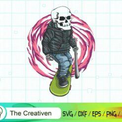 Skull Skateboard SVG, Skull Skateboard Digital File, Skull SVG