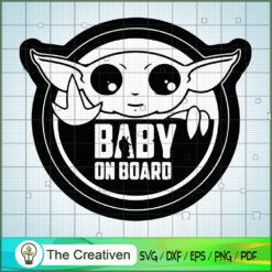 Logo Baby Yoda On Board SVG, Star Wars SVG, The Mandalorian SVG