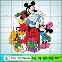Mickey and Minnie Pluto Send Gift SVG , Disney Christmas SVG , Disney Mickey SVG, Funny Mickey SVG