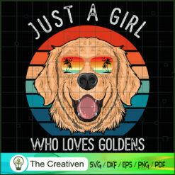 Girl Who Loves Golden Retrievers Dog SVG , Dog SVG , Dog Silhouette , Golden Retrievers Dog Silhouette