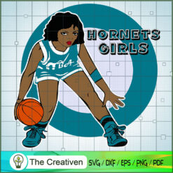 Hornets Girl NBA Champion SVG, NBA Girl, Afro Woman SVG, Black Woman SVG