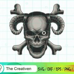 Skull Head Crossbone Vector SVG, Skull Head Crossbone Vector Digital File, Skull SVG