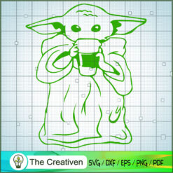 Baby Yoda With Coffee SVG, Star Wars SVG, The Mandalorian SVG, Grogu SVG