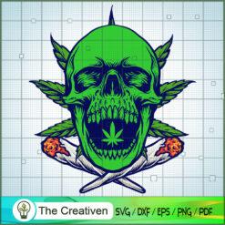 Stoner Cannabis Skull Smoke Cigarettes SVG, Cannabis SVG, Smoke Weed SVG