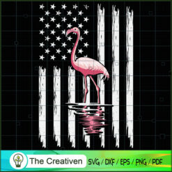 Flamingo American Flag 4th of July SVG, Animal Lover SVG, Flamingo SVG