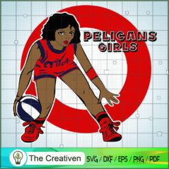Pelicans Girls NBA Champion SVG, NBA Girl, Afro Woman SVG, Black Woman SVG
