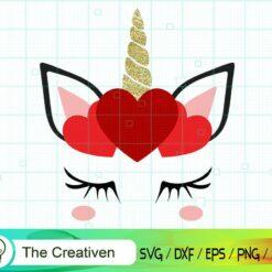 Unicorn with Hearts SVG, Unicorn with Hearts Digital File, Unicorn SVG