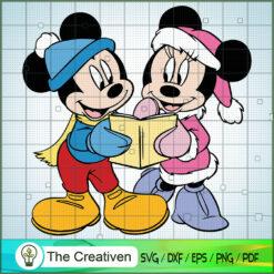 Mickey and Minnie Read Postcard SVG , Disney Christmas SVG , Disney Mickey SVG, Funny Mickey SVG