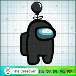 Black Among Us Balloon Hat SVG, Among Us SVG, Game Play SVG, Funny Among Us SVG