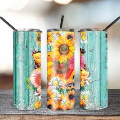 20oz Skinny Sunflower Wood Tumbler