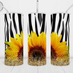 20oz Skinny Tumbler Sunflowers Zebra