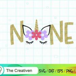 Ninth Birthday Unicorn SVG, Ninth Birthday Unicorn Digital File, Unicorn Number SVG