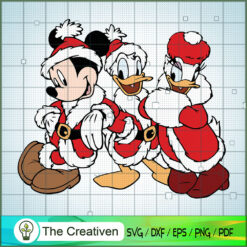 Mickey with Donald And Daisy Christmas SVG , Disney Christmas SVG , Disney Mickey SVG, Funny Mickey SVG