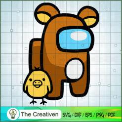 Among Bear And Mini Chicken SVG, Among Us SVG, Game Play SVG, Funny Among Us SVG