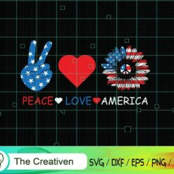 Peace Love America Sunflower 4th of July SVG , US Flag SVG, 4th of July SVG , Sunflower SVG