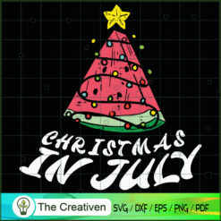 Christmas in July Summer Watermelon Tree SVG , Christmas 4th of July SVG , 4th of July SVG , Christmas SVG