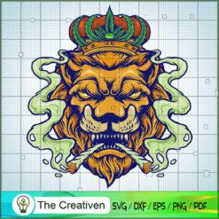 Lion King Weed Smoke Cannabis Mascot SVG, Cannabis SVG, Smoke Weed SVG