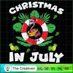 Christmas in July Pink Flamingo SVG , Christmas 4th of July SVG , 4th of July SVG , Christmas SVG