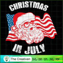 Retro Hipster Santa 4th of July SVG , Christmas 4th of July SVG , 4th of July SVG , Christmas SVG