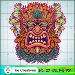 Angry Tiki Hawaii Mascot Cannabis Smoke SVG, Cannabis SVG, Smoke Weed SVG