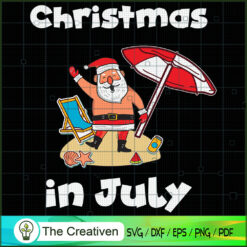 Christmas in July Santa Hawaiian Lover SVG , Christmas 4th of July SVG , 4th of July SVG , Christmas SVG