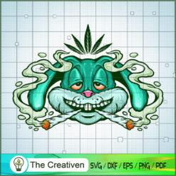 Weed Bunny Rabbit Joint Smoke Mascot SVG, Cannabis SVG, Smoke Weed SVG