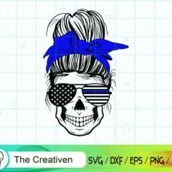 Messy Bun Police Svg, Thin Blue Line Svg Messy Bun Skull SVG