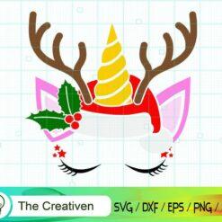 Unicorn Face with Christmas Hat SVG, Unicorn Face with Christmas Hat Digital File, Unicorn Christmas SVG