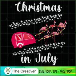 Flamingo Camping Car Christmas in July SVG , Christmas 4th of July SVG , 4th of July SVG , Christmas SVG