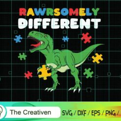 Rawrsomely Different T-rex Autism Puzzle SVG , Autism Awareness SVG , Love Autism SVG