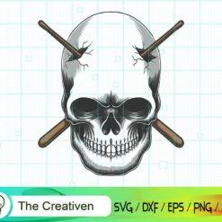 Skull Impaled Stick Drum SVG, Skull Impaled Stick Drum Digital File, Skull SVG