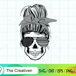 Messy Bun Gray Line Svg , Correctional SvG , Messy Bun Skull SVG